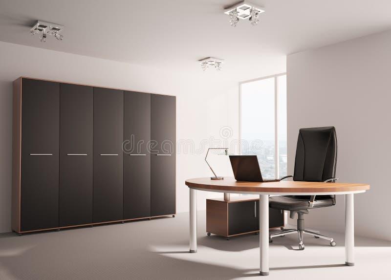 Escritório moderno 3d interior ilustração royalty free