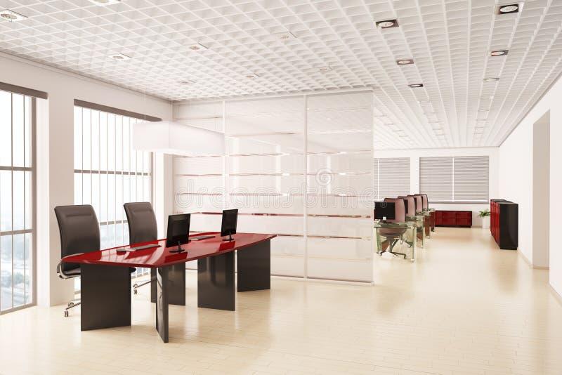Escritório moderno com computadores 3d interior ilustração stock