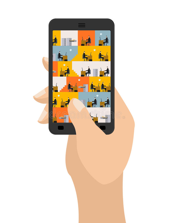 Escritório no smartphone Local de trabalho no telefone Gerentes no trabalho Busi ilustração stock