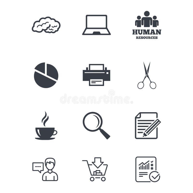 Escritório, originais e ícones do negócio ilustração stock