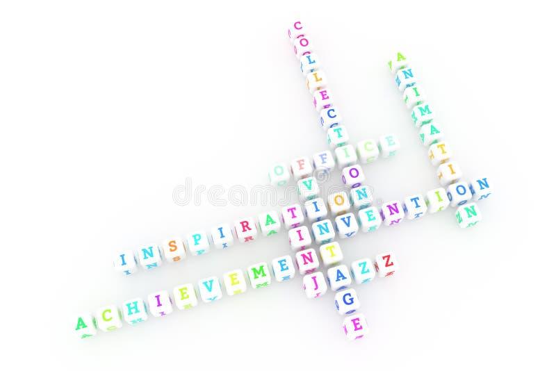 Escritório, palavras cruzadas criativas da palavra-chave Para o p?gina da web, o projeto gr?fico, a textura ou o fundo rendi??o 3 ilustração royalty free