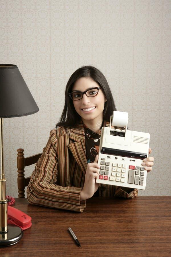 Escritório retro do vintage da mulher da secretária do contabilista fotos de stock