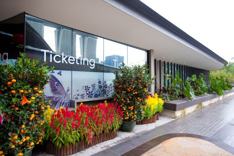 Escritório Ticketing para os jardins pela baía, Singapura fotografia de stock royalty free