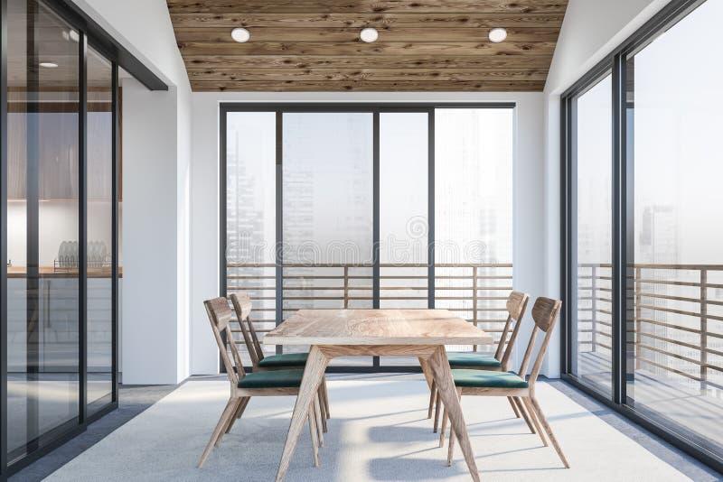 Escritório vazio branco moderno interior com espaço dinning 3d rendem Vôo do pássaro - 1 ilustração do vetor