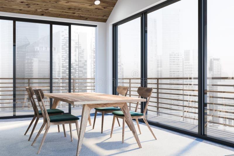 Escritório vazio branco moderno interior com espaço dinning 3d rendem Vôo do pássaro - 1 ilustração stock