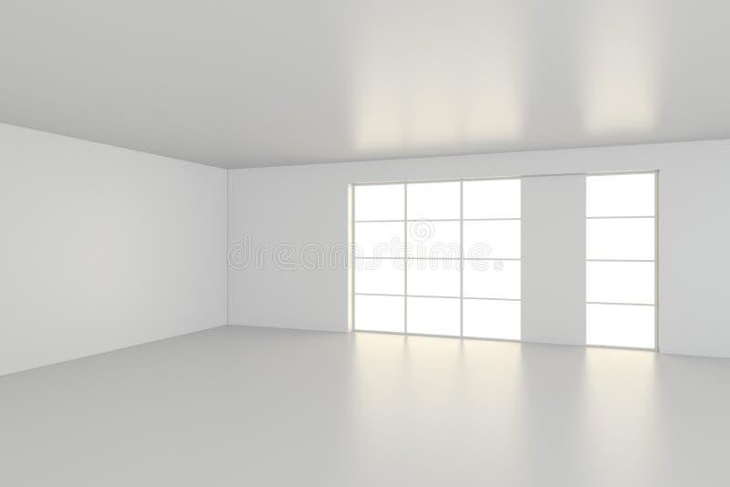 Escritório vazio do interior da sala branca rendição 3d fotografia de stock royalty free