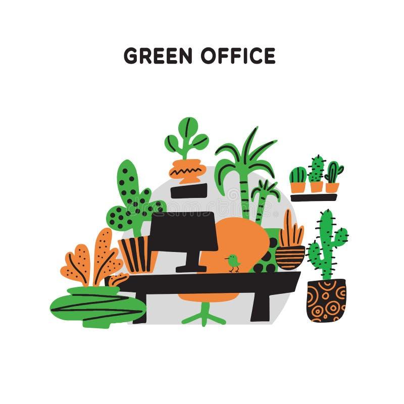 Escritório verde Ilustração tirada mão do escritório, decorada com plantas Doodle o estilo Vetor Conceito do serviço de Plantscap ilustração royalty free