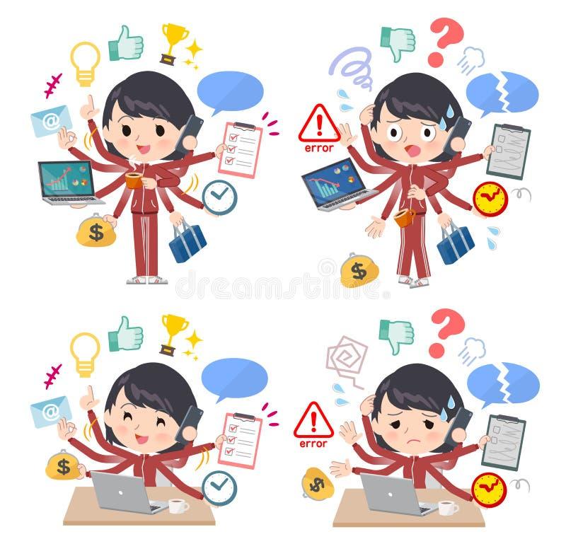 Escritório vermelho da tarefa do jersey_mulch da menina da escola ilustração do vetor