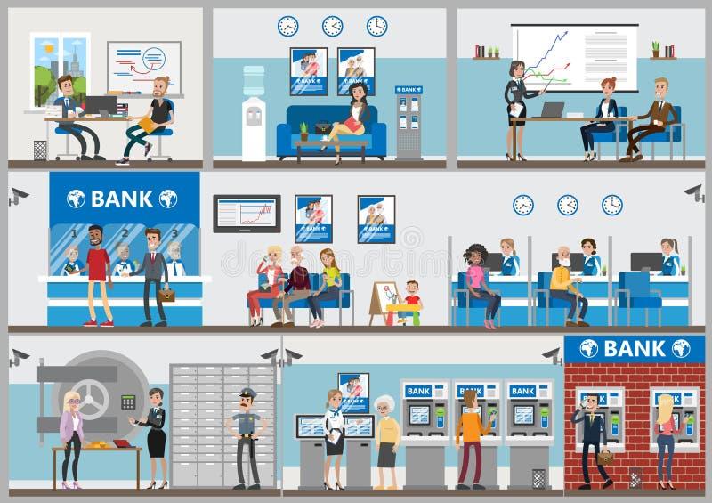 Escritórios do banco ajustados ilustração royalty free