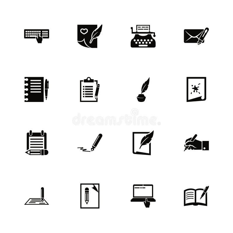 Escrita - ícones lisos do vetor ilustração do vetor