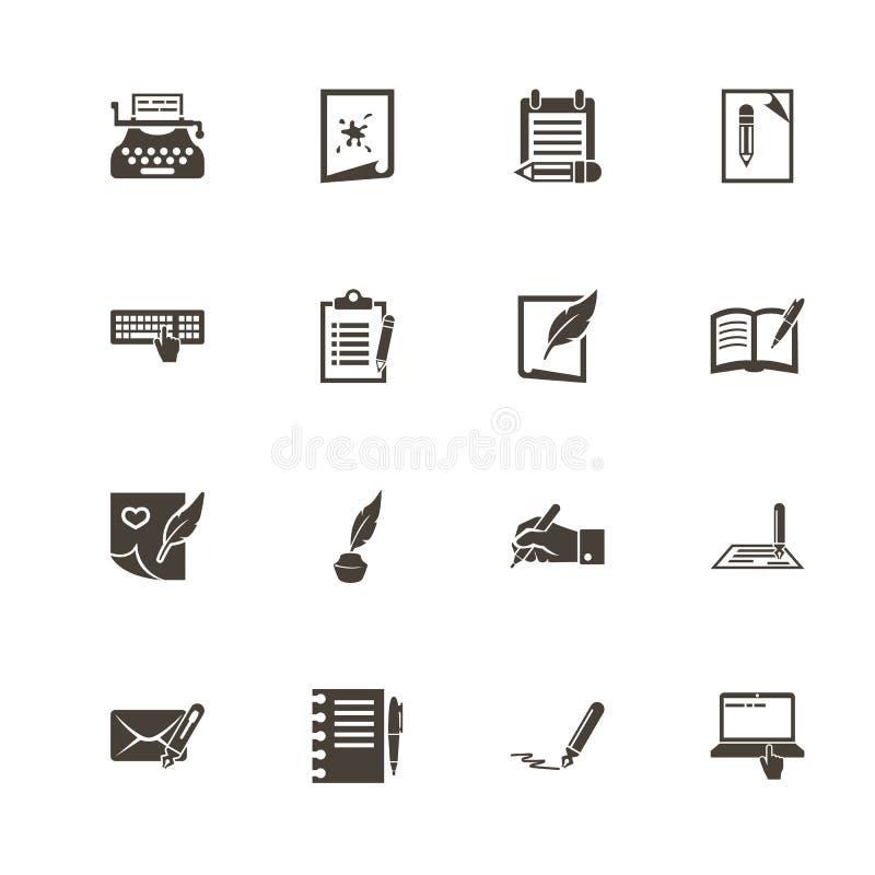 Escrita - ícones lisos do vetor ilustração royalty free