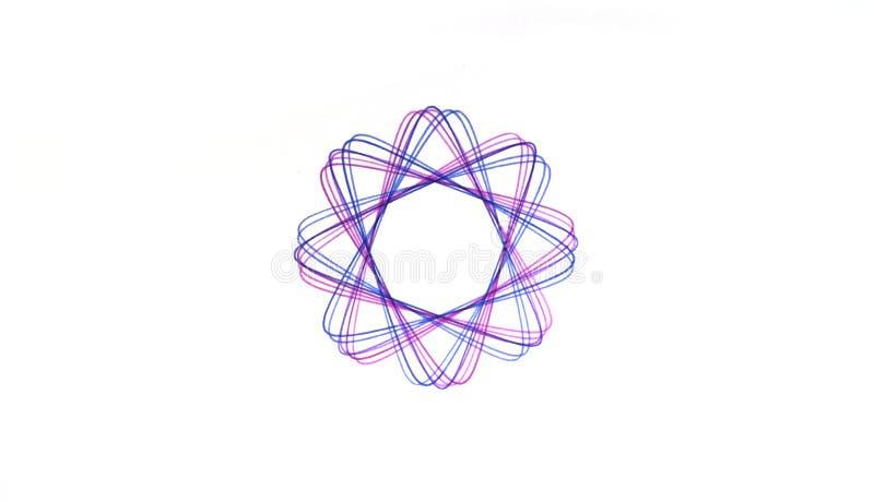 A escrita abstrata do Spirograph projeta em volta do símbolo fotografia de stock