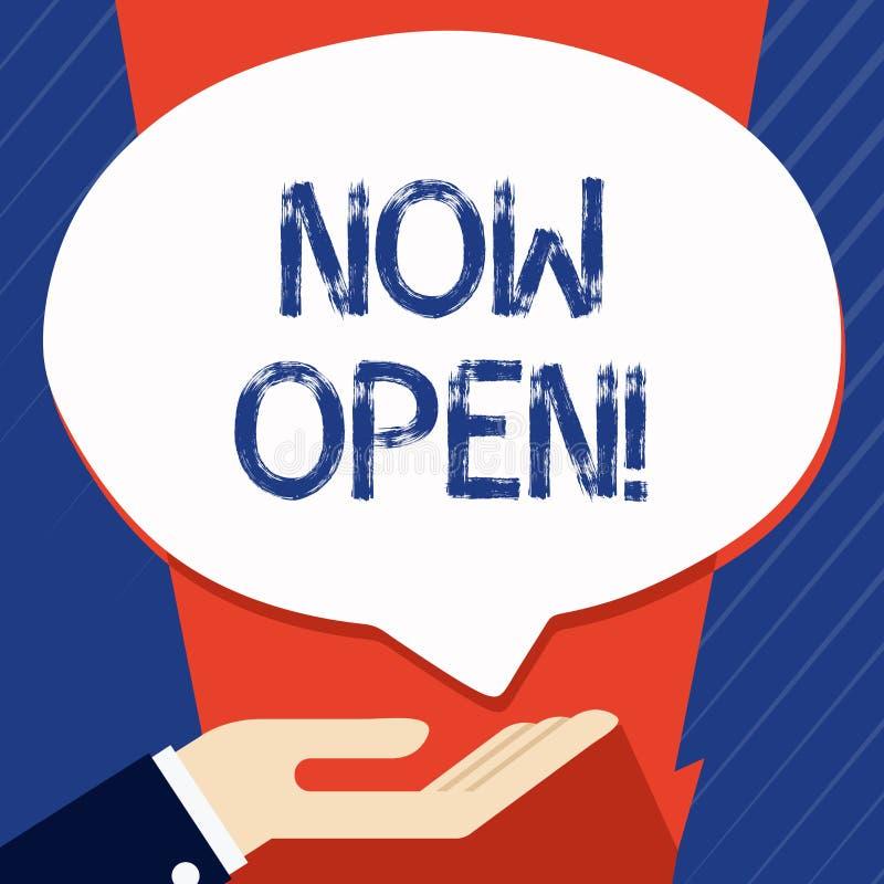 Escrita conceptual da mão que mostra agora aberto Porta ou janelas apresentando da licença da foto do negócio não fechada ou não  ilustração do vetor