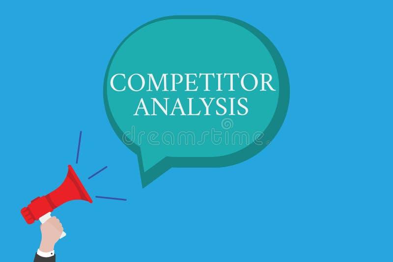 Escrita conceptual da mão que mostra a análise do concorrente O texto da foto do negócio determina a fraqueza da força de competi ilustração stock