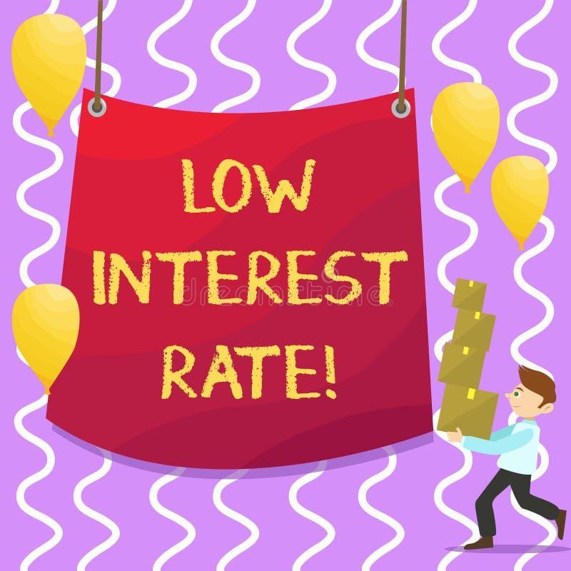 Escrita conceptual da mão que mostra a baixa taxa de juro Porcentagem apresentando da foto do negócio que o banco adiciona cada a ilustração do vetor
