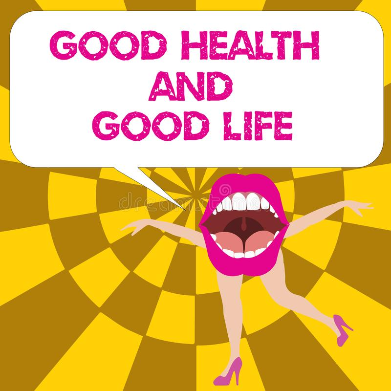 Escrita conceptual da mão que mostra a boa saúde e a boa vida A saúde do texto da foto do negócio é um recurso para viver uma vid ilustração stock