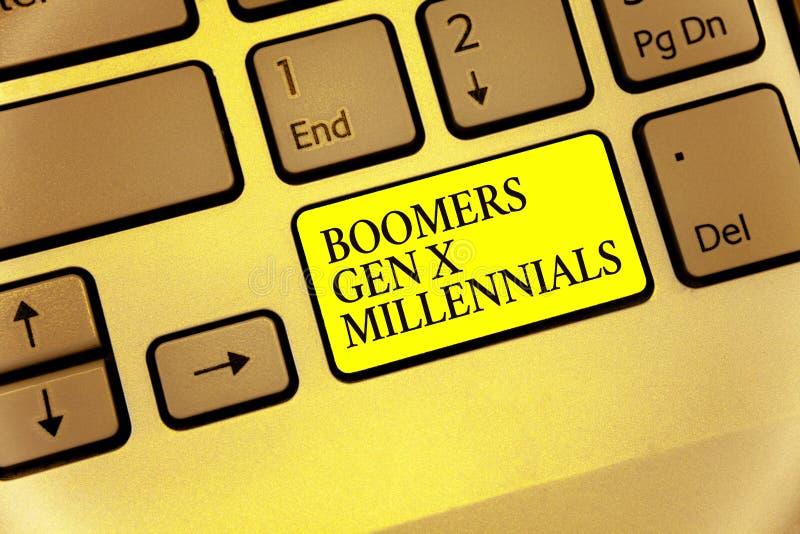 Escrita conceptual da mão que mostra a Boomers Gen X Millennials Foto do negócio que apresenta considerado geralmente para estar  fotografia de stock royalty free
