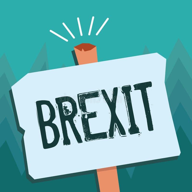 Escrita conceptual da mão que mostra Brexit Partida potencial apresentando do termo da foto do negócio de Reino Unido de ilustração do vetor