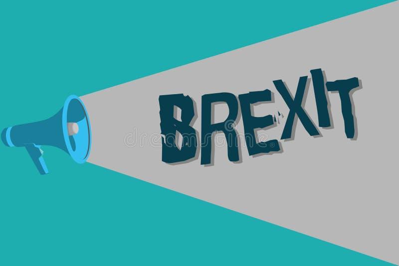 Escrita conceptual da mão que mostra Brexit Partida potencial do termo do texto da foto do negócio de Reino Unido do europeu ilustração stock