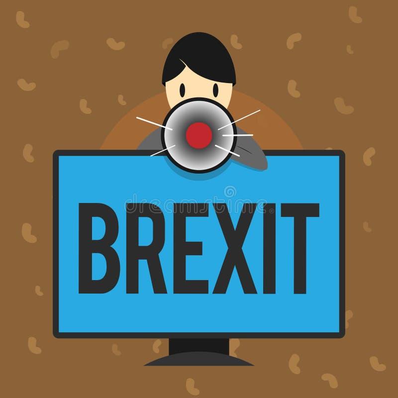 Escrita conceptual da mão que mostra Brexit Partida potencial do termo do texto da foto do negócio de Reino Unido da União Europe ilustração stock
