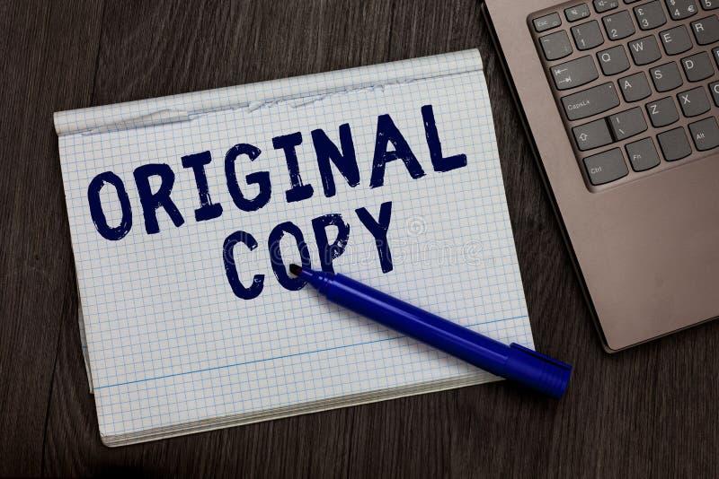 Escrita conceptual da mão que mostra a cópia original Lista principal patenteada marcada Unprinted do roteiro principal do texto  fotografia de stock royalty free