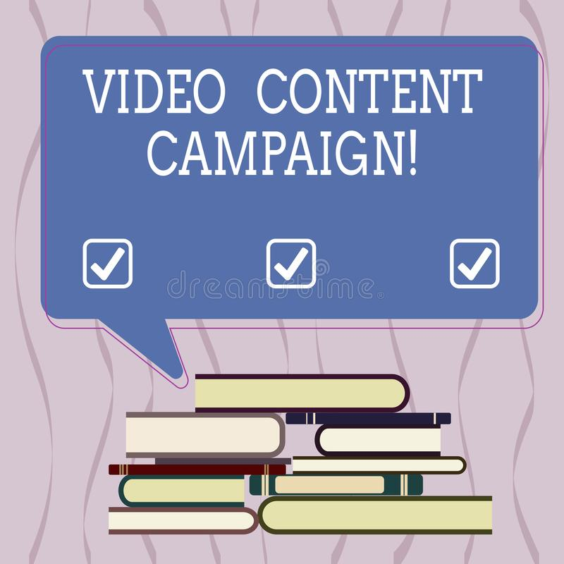 Escrita conceptual da mão que mostra a campanha satisfeita video O texto da foto do negócio integra o vídeo de contrato no mercad ilustração royalty free