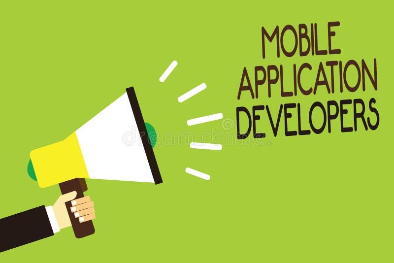 Escrita conceptual da mão que mostra colaboradores de aplicação móveis Apresentar da foto do negócio cria o software para disposi ilustração royalty free