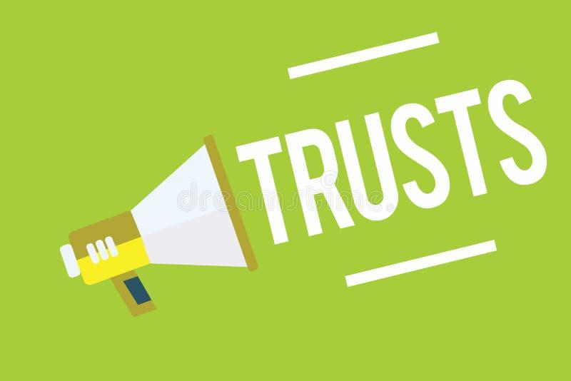 Escrita conceptual da mão que mostra confianças Foto do negócio que apresenta a opinião firme na verdade da confiança ou a capaci ilustração do vetor