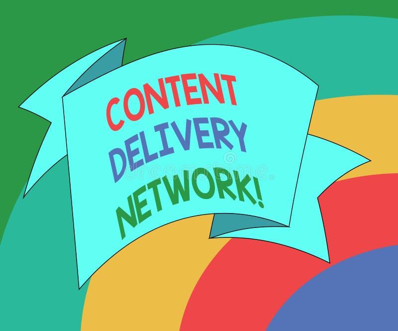 Escrita conceptual da mão que mostra Content Delivery Network A foto do negócio que apresenta geograficamente dispersou a rede de ilustração royalty free