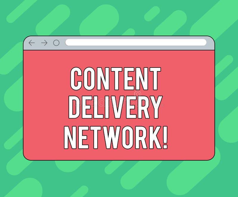 Escrita conceptual da mão que mostra Content Delivery Network A foto do negócio que apresenta geograficamente dispersou a rede do ilustração stock