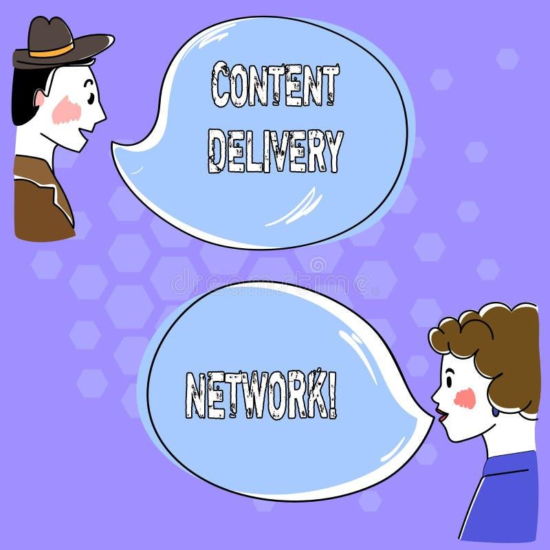 Escrita conceptual da mão que mostra Content Delivery Network O texto da foto do negócio dispersou geograficamente a rede dos ser ilustração royalty free