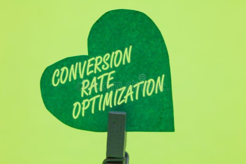 Escrita conceptual da mão que mostra a conversão Rate Optimization Sistema apresentando da foto do negócio para a porcentagem cre imagem de stock royalty free