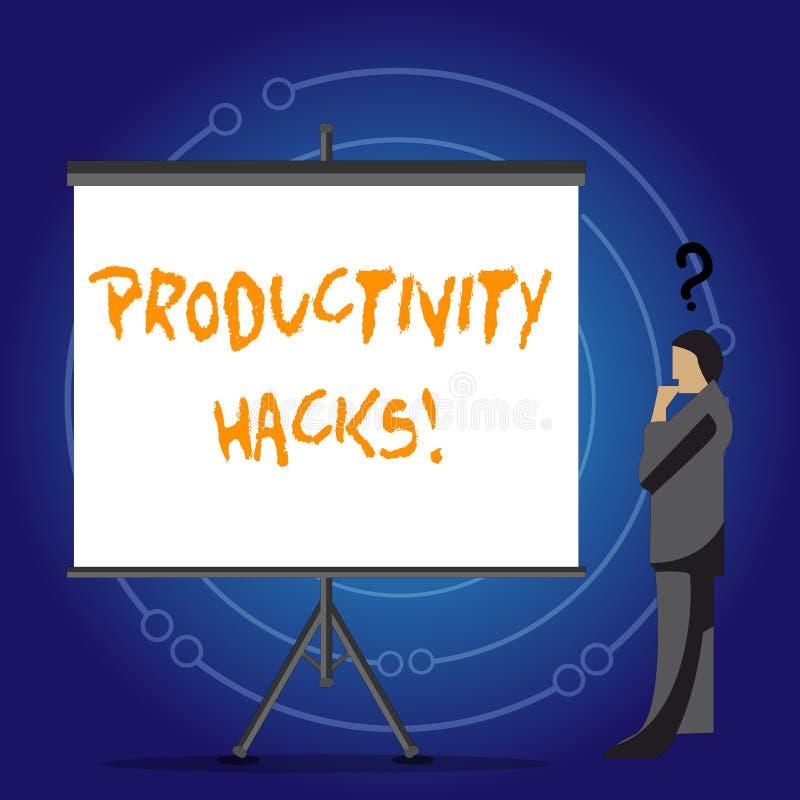 Escrita conceptual da mão que mostra cortes da produtividade A foto do negócio que apresenta cortando o método da solução derruba ilustração royalty free