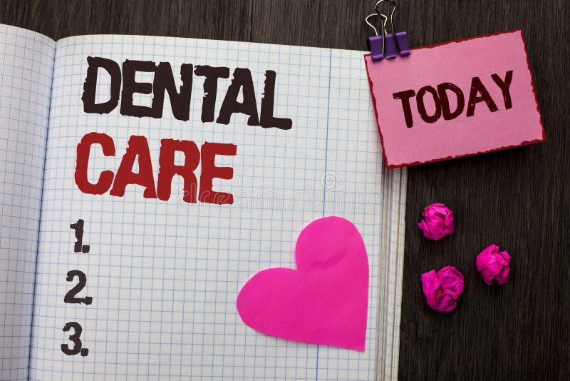Escrita conceptual da mão que mostra cuidados dentários Foto do negócio que apresenta a proteção de inquietação Regulatio da higi fotos de stock