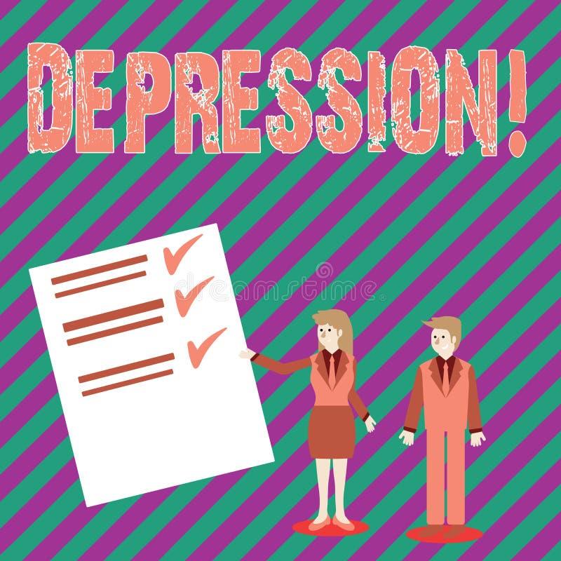 Escrita conceptual da mão que mostra a depressão Esforço de trabalho do texto da foto do negócio com as noites sem sono que têm a ilustração royalty free