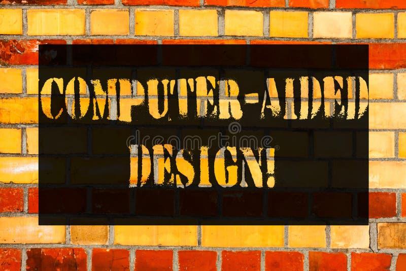 Escrita conceptual da mão que mostra desenhos assistidos por computador Foto do negócio que apresenta o projeto industrial do CAD imagens de stock