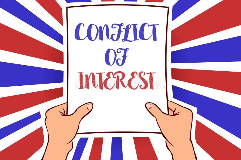 Escrita conceptual da mão que mostra a discordância apresentando da foto do negócio do conflito de interesses com o alguém sobre  ilustração stock