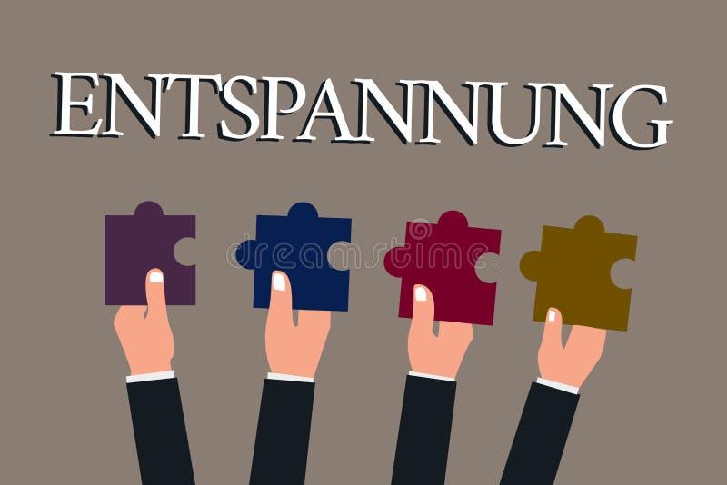 Escrita conceptual da mão que mostra Entspannung Termo de Geranalysis do texto da foto do negócio traduzido como relaxam abrandam ilustração stock