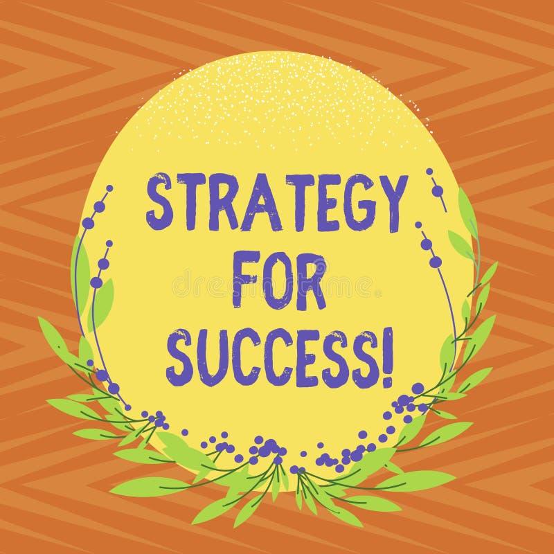 Escrita conceptual da mão que mostra a estratégia para o sucesso Plano do texto da foto do negócio seguir para encontrar o desafi ilustração royalty free