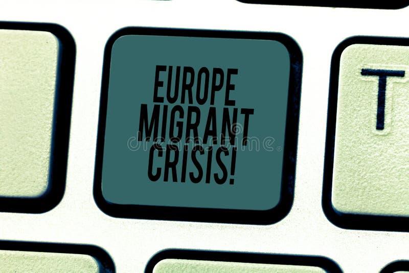 Escrita conceptual da mão que mostra a Europa a crise emigrante Crise europeia do refugiado do texto da foto do negócio de um per imagem de stock royalty free