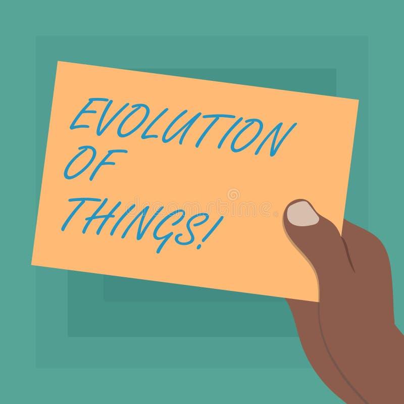 Escrita conceptual da mão que mostra a evolução das coisas A mudança gradual apresentando do processo da foto do negócio ocorre s ilustração stock