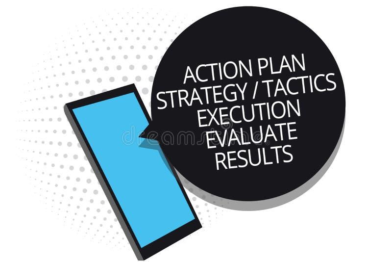 A escrita conceptual da mão que mostra a execução das táticas da estratégia do plano de ação avalia resultados Alimentação aprese ilustração do vetor