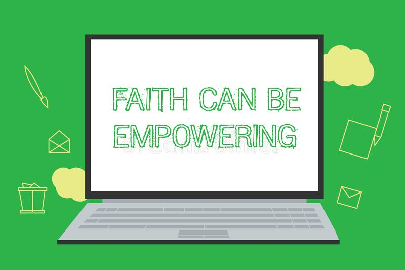 A escrita conceptual da mão que mostra a fé pode autorizar Confiança apresentando da foto do negócio e crença em nos de que nós p ilustração do vetor