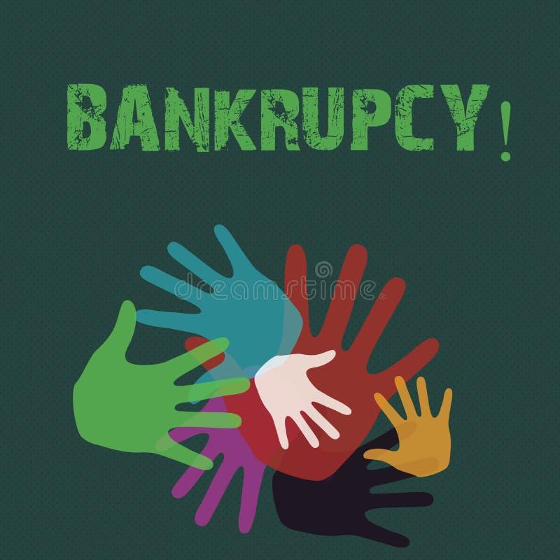 Escrita conceptual da mão que mostra a falência A empresa apresentando da foto do negócio sob a crise financeira vai falido com ilustração royalty free
