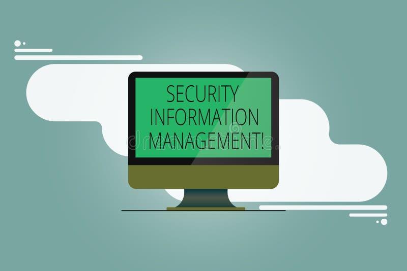 Escrita conceptual da mão que mostra a gestão da informação da segurança Coleta apresentando da foto do negócio e análise de dado ilustração do vetor