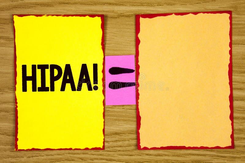 Escrita conceptual da mão que mostra a Hipaa a chamada inspirador Mobilidade do seguro de saúde do texto da foto do negócio e ato imagem de stock