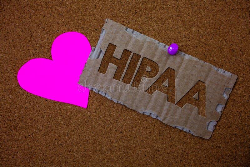 Escrita conceptual da mão que mostra Hipaa Testa da lei dos cuidados médicos do ato da mobilidade e da responsabilidade do seguro imagens de stock