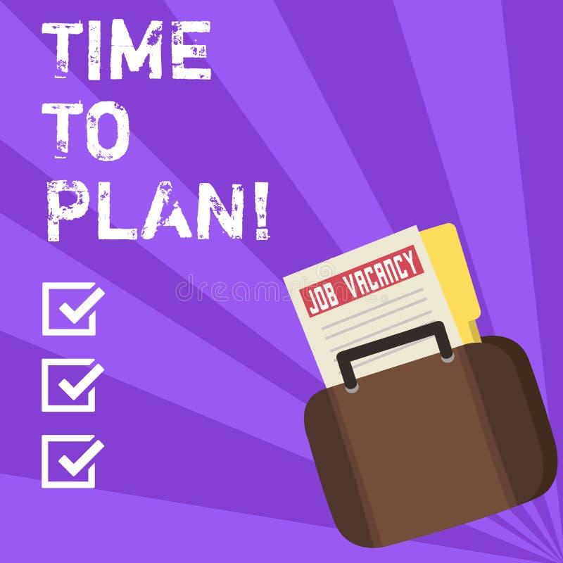 Escrita conceptual da mão que mostra a hora de planejar A preparação apresentando da foto do negócio de preparar-se das coisas pe ilustração stock