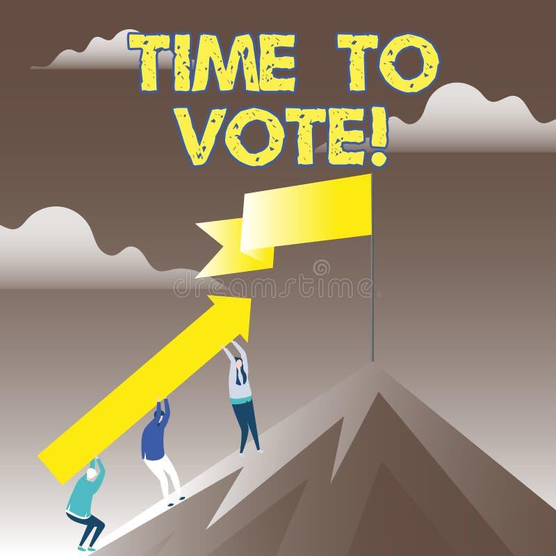 Escrita conceptual da mão que mostra a hora de votar A eleição apresentando da foto do negócio adiante escolhe entre alguns candi ilustração stock