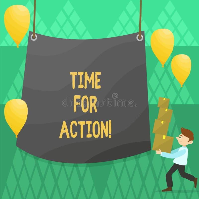 Escrita conceptual da mão que mostra a hora para a ação Trabalho apresentando do desafio do incentivo do movimento da urgência da ilustração royalty free